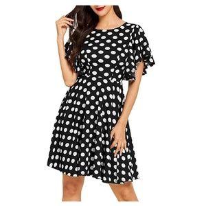 Stretchy Swing Flared Skater Polka Dots Dress